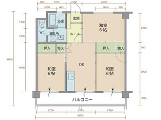 コーポラス2番館 305号室間取りマップ