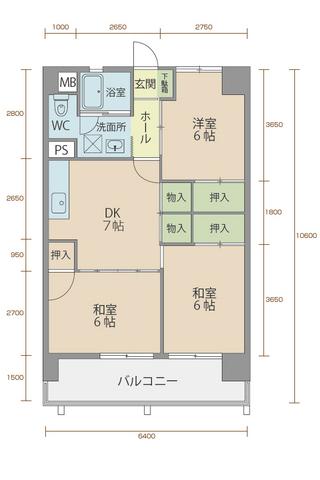 コーポラス5番館 401号室間取りマップ