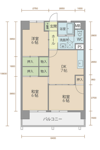 コーポラス5番館 602号室間取りマップ