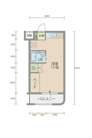 エクレール90 206号室間取りマップ