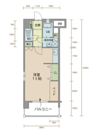 カルミア90 201号室間取りマップ