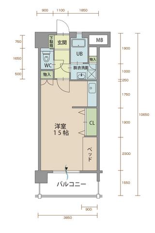 カルミア90 405号室間取りマップ