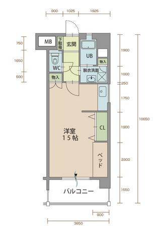 カルミア90 406号室間取りマップ