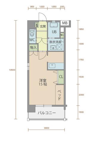 ミルフィーユ90 801号室間取りマップ