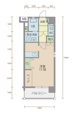 ミルフィーユ90 205号室間取りマップ