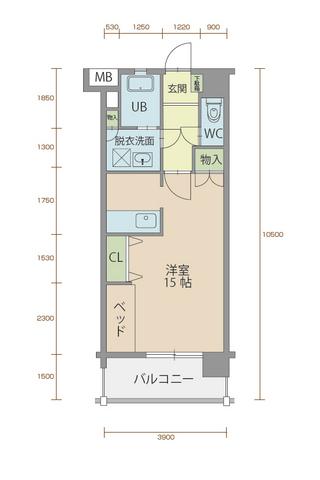 ミルフィーユ90 502号室間取りマップ