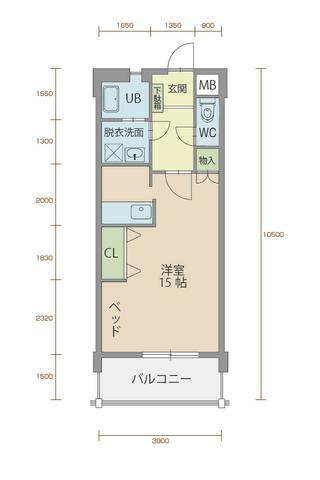 ミルフィーユ90 403号室間取りマップ