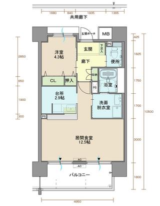 ウィステリア北小路 505号室間取りマップ