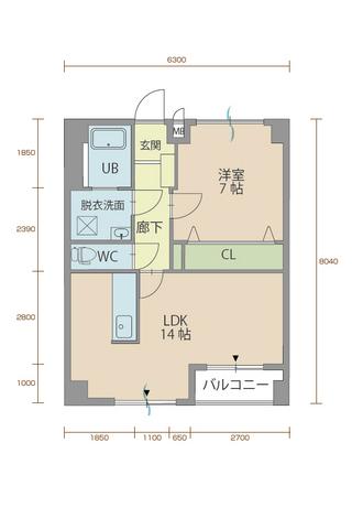 ウィステリア櫻小路 106号室間取りマップ